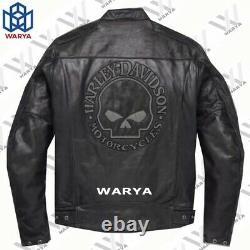 Men's Harley Davidson Motorcycle Vintage Biker Black Real Leather Jacket
