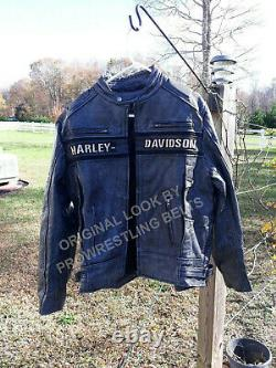 Men's Harley Davidson Motorcycle Vintage Biker Distressed Genuine Leather Jacket