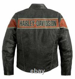 Men's Harley davidson Victory Lane Leather Jacket mens biker jacket warm jacket