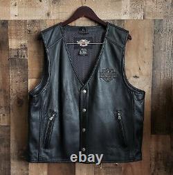 Men's NWOT Harley-Davidson WILLIE G SKULL black leather vest XL reflective