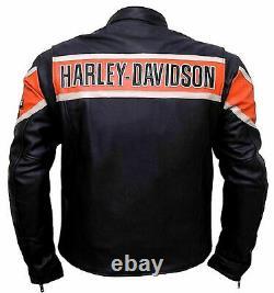 Men's Real Genuine Cowhide HD Harley Davidson Motorcycle Biker Leather Jacket