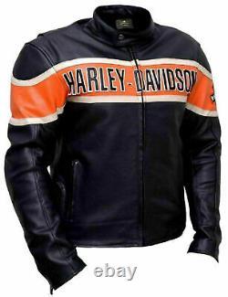 Men's Real Genuine Cowhide HD Harley Motorcycle Biker Leather Jacket