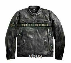 Men's Vintage Motorcycle Harley Davidson Black Distressed Real Leather Jacket