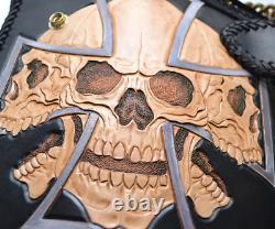 Mens Biker Wallet carving skull Harley Motorcycle Genuine Leather+Brass Chain