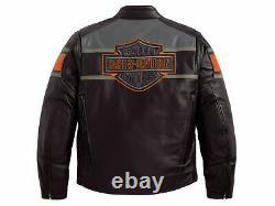 Mens Harley Davidson Black Motorbike Real Cowhide Leather Biker's Jacket