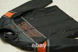 Mens Harley Davidson Rumble Colorblocked Genuine Cowhide leather Biker's jacket