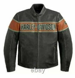 Mens Harley davidson Victory Lane Distress Top Quality Leather Jacket All Sizes