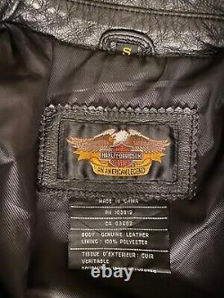 Mens Vintage HARLEY DAVIDSON Black Leather Jacket S brand new