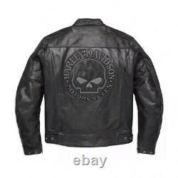 Motorcycle Motorbike Mens Harley Davidson Cowhide Leather Black Jacket US