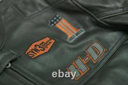 Motorcycle Motorbike Mens Harley Davidson Screaming Eagle Cowhide Leather Jacket