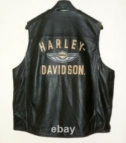 NEW 2003 HARLEY DAVIDSON 100th ANNIVERSARY MEN'S XL LEATHER WINGS MEDALLION VEST