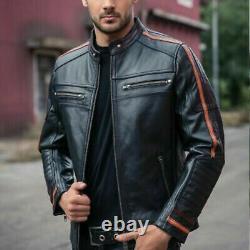 NOORA Mens Motorcycle Racer Black Leather Jacket with Harley Orange Stripes #SJ