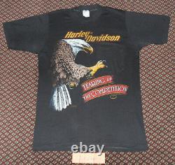 NWOT VTG 70s 80s Harley Davidson Tearing Up Competition T Shirt 3D Emblem Bikers