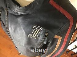 NWT HARLEY DAVIDSON Men's LARGE Vented #1 Black Leather Racing Jacket