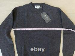 NWT HARLEY OF SCOTLAND Slim-Fit Shetland Sweater Midnight M