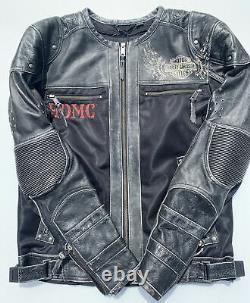 NWT Harley Davidson Men KNUCK Leather Mesh Jacket Distressed 97060-15VM 2XL