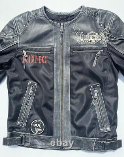 NWT Harley Davidson Men KNUCK Leather Mesh Jacket Distressed 97060-15VM 5XL
