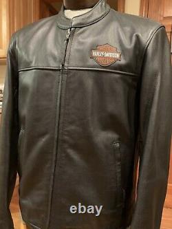 New Harley Davidson Leather Motorcycle Jacket Mens Large Black