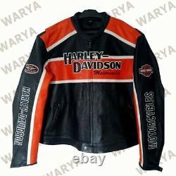 New Men's HD Black Biker Harley Motorcycle Cowhide Leather Jacket