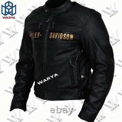 New Men's HD Black Biker Harley Motorcycle Cowhide Real Leather Jacket Harley