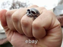 New Skull Ring Mens Sterling Silver 925 Handmade New Masonic Harley Biker All Sz
