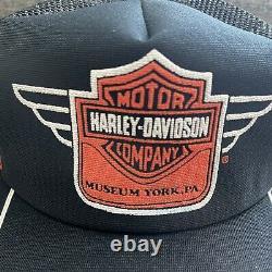 Rare Vintage Harley Davidson Mesh 3 Stripe Trucker Hat Usa Made Clean