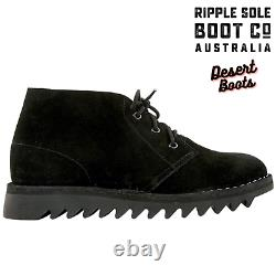 Ripple Sole Men's Harley Suede Leather Desert Boots Chukka Shoes Lace Up Black