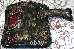 Skull Tattoo Genuine Stingray Leather Motorcycle Biker Wallet New Harley Rocker