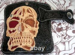 Skull Tattoo Stingray Skin Leather Motorcycle Biker Wallet Mens Devil Harley