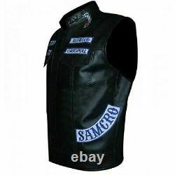 Sons of Anarchy Jax Teller Vest Motorcycle Club Sleeveless Leather Harley B