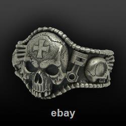 Sterling Silver 925 Bracelet Mens Biker Skull Ring Handmade Bangle Harley Bike