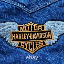Vintage 70s 80s Harley Davidson Levis Sherpa Lined Denim Vest Size Mens Medium
