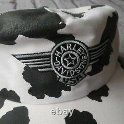 Vintage 80s Harley Davidson Cow Print Snapback Hat Cap Made in USA