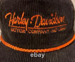 Vintage 80s Harley Davidson Motorcycle Corduroy Adjustable Bike Trucker Hat Cap