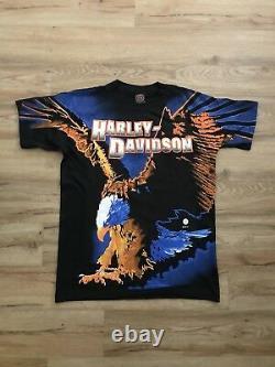 Vintage Harley Davidson All Over Eagle Print Shirt Adult Size LARGE 1995 NEW