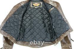 Vintage usa mens harley davidson leather jacket L brown Shovelhead belted bar