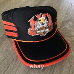 Vtg 1970s Harley Davidson Snapback Trucker Hat 3 Three Stripes Eagle Rare, NOS