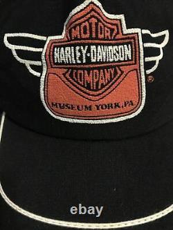 Vtg Harley Davidson Snapback Trucker Hat Cap 3 Three Stripes USA York, PA Museum