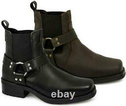 Woodland HARLEY Mens Leather Square Toe Ankle Biker Western Cowboy Boots