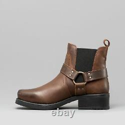 Woodland HARLEY Mens Waxy Leather Square Toe Ankle Biker Cowboy Boots Brown